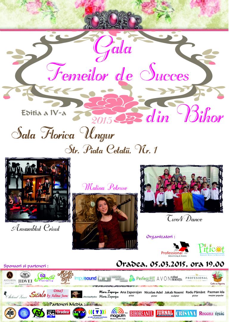 Afis Gala Femeilor de Succes din Bihor 5 Martie 2015 Oradea